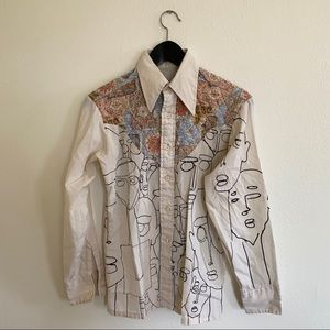small off white western shirt women's / young boy
